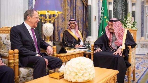 Saudi Arabia's King Salman bin Abdulaziz meets with Russia's FM Sergei Lavrov in Riyadh